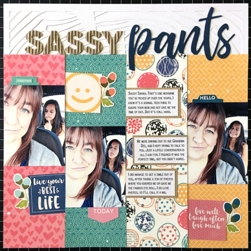"""""""Bite Size Bits"""" scrapbook layout featuring Chit Chat Chowder, Farmhouse Stew, Saffron Yellow Pepper Soup, Souper Celebration, Bohemian Brew, and Hardy Hodgepodge.  How to create a scrapbook layout with bite size bits.  Jillibean Soup scrapbooking layout.  #jillibeansoup #scrapbooker #cutfile #bitesizebits"""