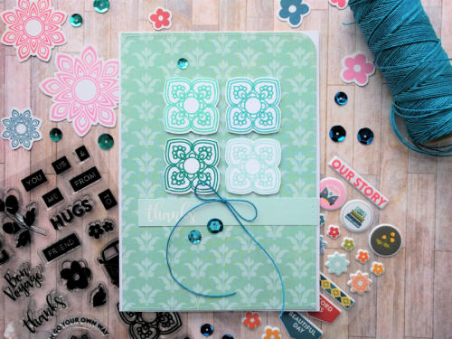"""""""Bohemian Brew"""" card using patterned paper, clear stamp set and sequins.  How to stamp on a card.  Jillibean Soup cardmaking.  #jillibeansoup #cardmaking #stamping #bohemianbrew #sequins"""