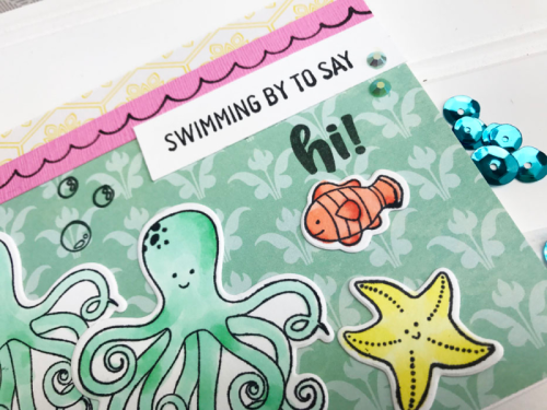 """""""Octopus Stamp and Die Set"""" using Bohemain Brew and jewels and sequins.  How to stamp on a card.  Jillibean Soup cardmaking.  #jillibeansoup #cardmaking #bohemianbrew #octopus #stampanddieset"""
