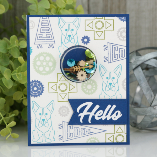 """""""2 Cool For School"""" card using a shape shaker, patterned paper, sequin fillers, and clear stamps.  How to create a shape shaker card.  Jillibean Soup cardmaking.  #jillibeansoup #cardmaking #shapeshaker #2coolforschool #stamping #shakerfillers"""