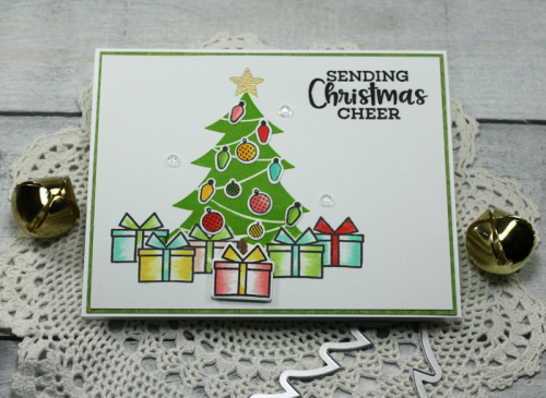 Stamped card using Jillibean Soup's tree shape shaker card, stamp and die set.  How to stamp on a card.  Jillibean Soup cardmaking.  #jillibeansoup #stamping #tree #stampannddieset #shakercard