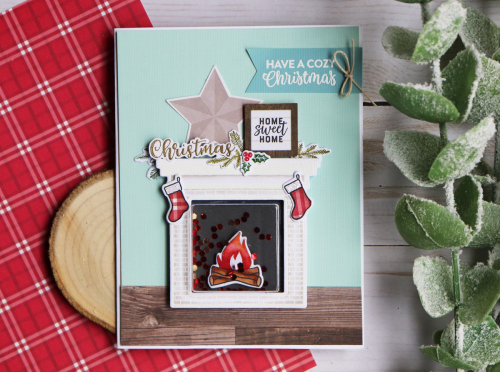 Shaker card using the Jillibean Soup shape shaker square card and insert, clear stamp and die set and the Garden Harvest collection.  How to create a shape shaker card.  Jillibean Soup cardmaking.  #jillibeansoup #cardmaking #shapeshaker #square #gardenharvest #fireplace