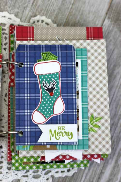 Mini Album created using Jillibean Soup All About Dots Paper Pad and All About Plaid Paper Pad, Holiday Shaker stamp and die set, alphabeans, You Make MISO Happy, Party Playground, adhesive sequins and Holly Berry Borscht mini kraft numbers.  How to create a December Daily Mini Album.  Jillibean Soup mini album.  #jillibeansoup #minialbum #decemberdaily #allaboutdotspaperpad #allaboutplaidpaperpad, #youmakemisohappy