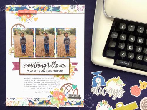 Scrapbook layout  using Jillibean Soup's Garden Harvest collection.  How to create a scrapbook layout with patterned paper.  Jillibean Soup scrapbooker.  #jillibeansoup #scrapbooker #layout #gardenharvest