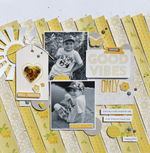 Heart Shaped Tag Shape Shaker scrapbook layout using Bohemain Brew, 2 Cool For School, Farmhouse Stew, Soup Staples II, Alphabeans, Shaker Card Fillers, and Mini Placemats.  How to use a shape shaker tag on a scrapbook layout.  Jillibean soup scrapbooker.  #jillibeansoup #scrapbooker #shapeshaker #tag #miniplacemats