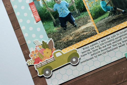 Scrapbook layout using Farmhouse Stew patterned paper, Soup Staples III patterned paper, puffy stickers, pea pod parts, coordinating stickers, and cut files.  How to use a cut file on a scrapbook layout.  Jillibean Soup scrapbooker.  #jillibeansoup #scrapbooker #farmhousestew #soupstaplesIII #cutfile