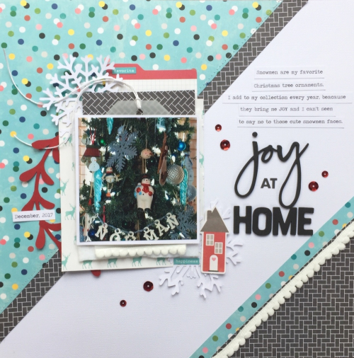 Holiday scrapbook layout using Jillibean Soup's You Make Miso Happy collection, Garden Harvest collection, file cards, red sequins, and a cut file.  How to create a scrapbook layout using a cut file.  Jillibean Soup scrapbooker.  #jillibeansoup #scrapbooker #layout #cutfile #gardenharvest #youmakemisohappy