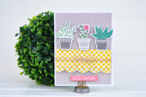 Card created with Jillibean Soup's You Make Miso Happy collection, All About Dots paper pad, and All About Plaid paper pad.  How to create a card with You Make Miso Happy collection.  Jillibean Soup cardmaking.  #jillibeansoup #cardmaking #youmakemisohappy #allaboutdotspaperpad #allaboutplaidpapepad