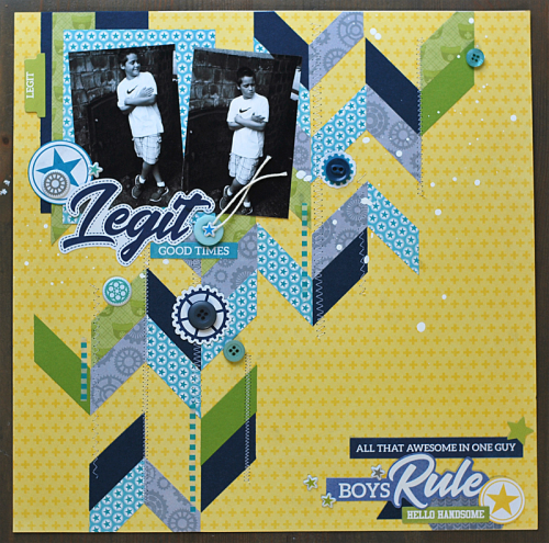 Scrapbook layout using 2 Cool For School with patterned paper, coordinating stickers, pea pod parts and puffy stickers. How to create a scrapbook layout with 2 Cool For School.  Jillibean Soup scrapbooker.  #jillibeansoup #scrapbooker #2coolforschool