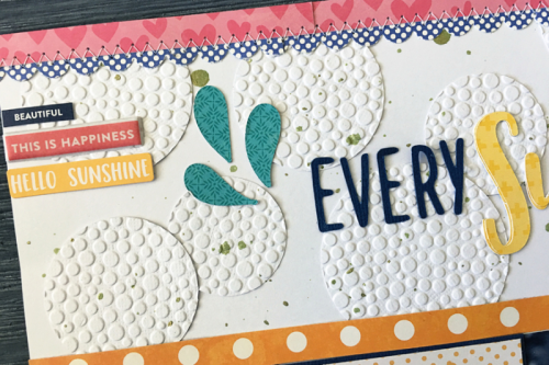 Scrapbook layout using patterned papers, corrugated alphas, coordinating stickers, and puffy sticker.  How to create a scrapbook layout with patterned paper.  Jillibean Soup scrapbooker.  #jillibeansoup #scrapbooker #patternedpaper #puffystickers, #corrugatedalphas