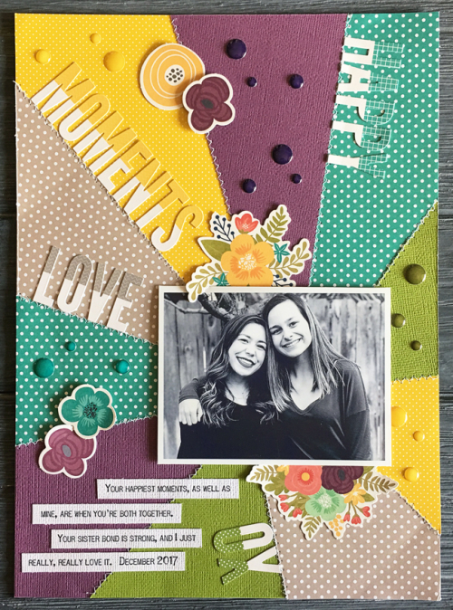 Scrapbook layout using Jillibean Soup's All About Dots paper pad, alphabeans, Garden Harvest pea pod parts, and Garden Harvest epoxy stickers.  How to create a scrapbook layout with paper pads and alphabeans.  Jillibean Soup scrapbooker.  #jillibeansoup #scrapbooker #layout #allaboutdotspaperpad #alphabeans #gardenharvest #peapodparts #epoxystickers