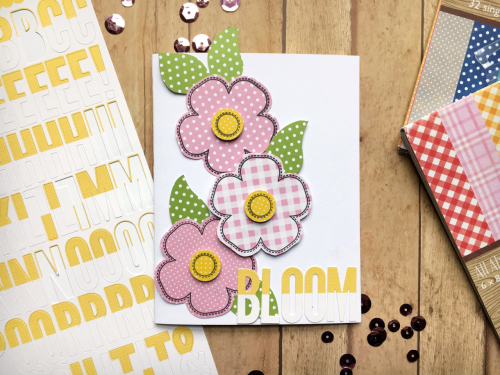 Card created using Jillibean Soup's All About Dots and All About Plaid paper pads, alphabeans and stamps.  How to create a card with paper pads and alphabeans.  Jillibean Soup cardmaking.  #jilllibeansoup #cardmaking #allaboutdotspaperpad #allaboutplaidpaperpad #alphabeans #stamp #flowerbloom