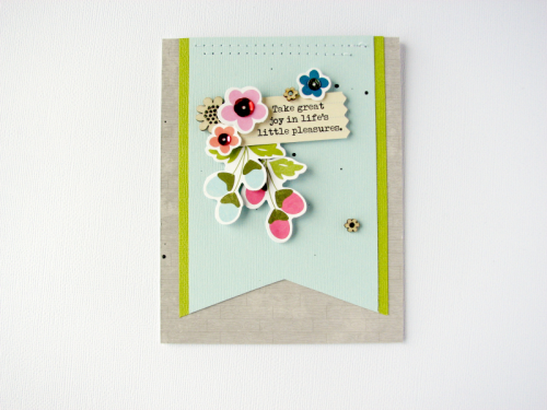 Card created using Bohemian Brew, notebook tags, wood veneer shapes, and adhesive sequins.  How to creata a card with embellishments.  Jillibean Soup cardmaking.  #jillibeansoup #cardmaking #bohemianbrew #notebooktags