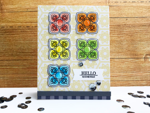 Stamped card using Bohemian Brew, stamp and die set, clear stamps, and sequins.  How to stamp on a card.  Jillibean Soup cardmaking.  #jillibeansoup #cardmaking #bohemianbrew #stampanddieset #sequins