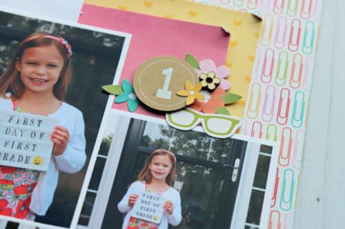 Scrapbook layout using patterned paper, pea pod parts, wood veneer shapes, alpha tiles, mini kraft number tags, and cut file.  How to use a cut file on scrapbook layout.  Jillibean Soup scrapbooker.  #jillibeansoup #scrapbooker #patternedpaper #peapodparts #woodveneer shapes #cutfile