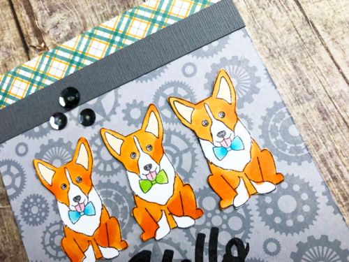 2 Cool For School card using patterned paper, stamp and die set, clear stamps, and sequins.  How to stamp on a card.  Jillibean Soup cardmaking.  #jillibeansoup #cardmaking #2coolforschool #stamps