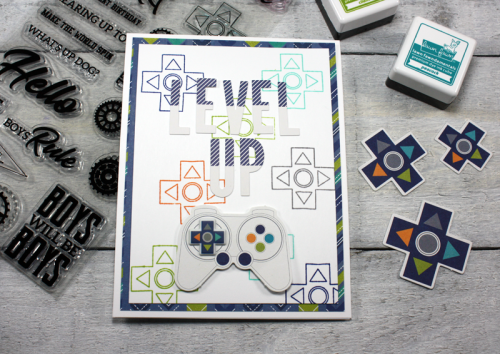 2 Cool For School card using patterned paper, pea pod parts, alphabean stickers, puffy stickers, and clear stamps.  How to stamp on a card.  Jillibean Soup cardmaking.  #jillibeansoup #cardmaking #2coolforschool #stamps