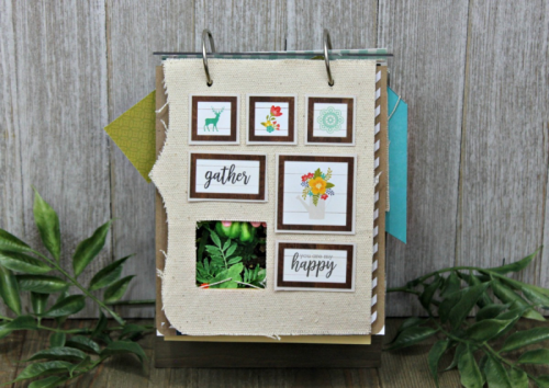 Mini Album using acrylic wood stand, Garden Harvest, puffy stickers, souop labels, and mini alphas.  How to create a mini album from mix the media acrylic wood stand.  Jillibean Soup diy.  #jillibeansoup #mixthemedia #diy #woodacrylicstand #gardenharvest