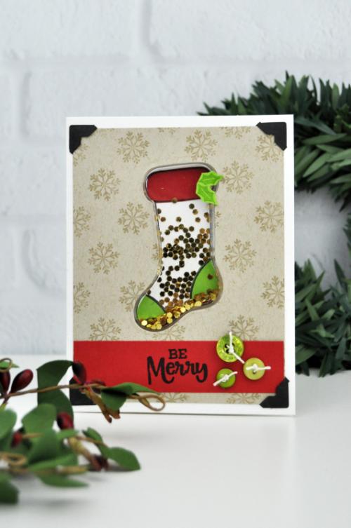 Christmas Stocking Shaker Card by Jen Gallacher for Jillibean Soup