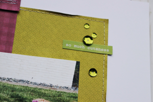 Scrapbook layout using garden harvest, pea pod parts, cardstock tags, adhesive sequins, shaker fillers, and cut files.  How to use a cut file on a scrapbook layout.  Jillibean Soup scrapbooker.  #jillibeansoup #scrapbooker #layout #gardenharvest #cutfile