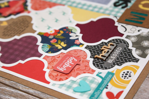 Scrapbook layout using Garden Harvest patterned paper, pea pod parts, coordinating cardstock stickers, and foam stickers.  Scrapbook layout using the Garden Harvest collection.  Jillibean Soup scrapbooker.  #jillibeansoup #scrapbooker #layout #gardenharvest #foamstickers