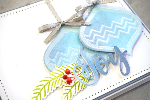 Stamped card using shaker stamp sets.  How to stamp on a card.  Jilllibean Soup cardmaking.  #jillibeansoup #cardmaking #ornament #shakerstampset