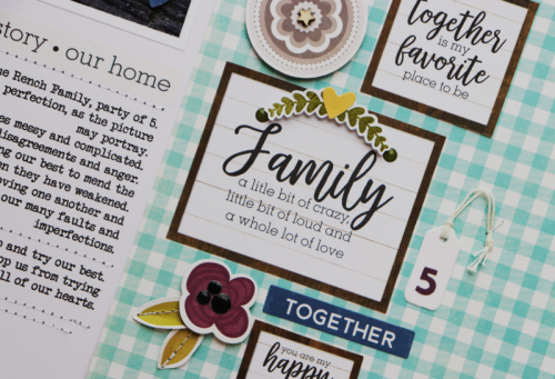 Scrapbook layout using the Jillibean Soup Garden Harvest collection including patterned paper, pea pod parts, clear stamps, epoxy stickers, label stickers, and washi sheets.  Scrapbook layout using the Garden Harvest collection.  Jillibean Soup scrapbook layout.  #jillibeansoup #scrapbooker #layout #gardenharvest