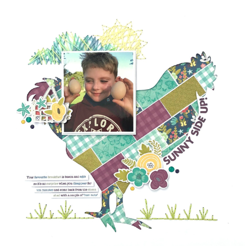 Scrapbook layout using the Jillibean Soup Garden Harvest collection including patterned paper, coordinating stickers, pea pod parts, epoxy stickers, and a cut file.  How to use a cut file on a scrapbook layout.  Jillibean Soup scrapbooker.  #jillibeansoup #scrapbooker #layout #gardenharvest #cutfile