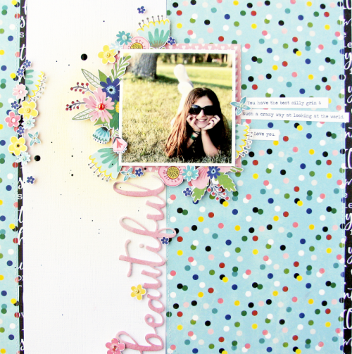 Scrapbook layout using the Jillibean Soup You Make Miso Happy collection including patterned paper and foam stickers.  How to create a scrapbook layout with You Make Miso Happy.  Jillibean Soup scrapbooker.  #jillibeansoup #scrapbooker #layout #youmakemisohappy #patternedpaper #foamstickers