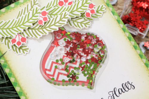 Shape shaker card using the Jillibean Soup shaker card ornament and insert, stamp and die set, shaker fillers, and all about plaid 6 x 8 paper pad.  How to create a shaker card.  Jillibean Soup cardmaking.  #jillibeansoup #cardmaking #shakercard #ornament #allaboutplaid #paperpad