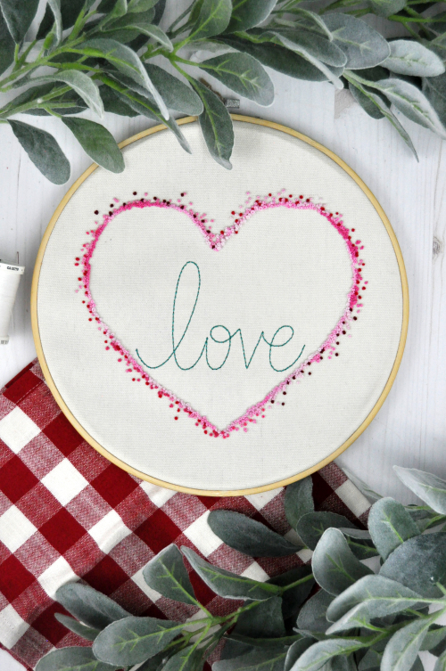 Home decor mix the media project using Jillibean Soup's love embroidery hoop.  How to make home decor mix the media projects.  Jillibean Soup Mix the Media projects.  #jillibeansoup #mixthemedia #homedecor #projects #love #embroideryhoop