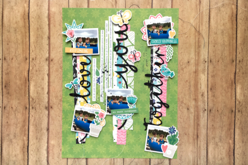 Scrapbook Layout using the Jillibean Soup You Make Miso Happy collection including patterned paper, pea pod parts, and cut files.  How to create a scrapbook layout with the You Make the Miso Happy collection.  Jillibean Soup scrapbook layout.  #jillibeansoup #scrapbooker #layout #youmakemisohappy #cutfile