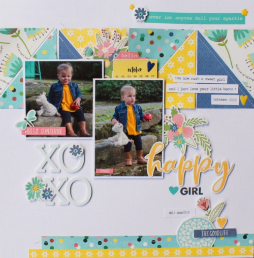Scrapbook Layout using the Jillibean Soup You Make Miso Happy collection including patterned paper, pea pod parts, coordinating stickers, foam stickers, epoxy stickers and washi sheets.  How to create a scrapbook layout with the You Make the Miso Happy collection.  Jillibean Soup scrapbook layout.  #jillibeansoup #scrapbooker #layout #youmakemisohappy