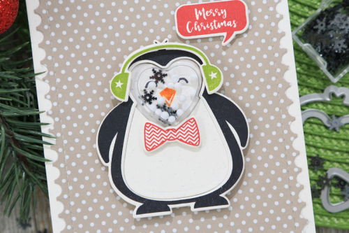 Shape Shaper card using the Jillibean Soup heart shaker and card and the stamp and die set.  How to make a shape shaker card.  Jillibean Soup cardmaking.  #jillibeansoup #cardmaking #shapeshaker #heart #penguin #stampanddieset