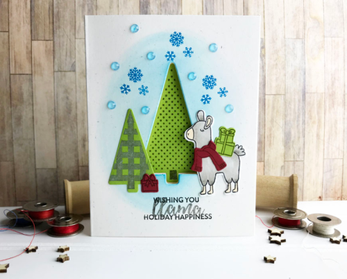 Stamped card using the Jillibean Soup shaker card and stamp and die sets.  How to make a stamped card.  Jillibean Soup cardmaking.  #jillibeansoup #cardmaking #retrotree #llama #stampanddieset