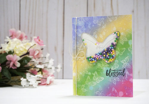 Shape shaker card using Jillibean Soup's Garden Harvest clear stamps, butterfly shaker card and insert, and foam ball shaker fillers.  How to create a shaker card.  Jillibean Soup cardmaking.  #jillibeansoup #cardmaking #shapeshaker #butterfly #gardenharvest #clearstamps