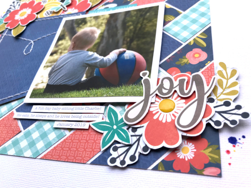 Scrapbook layout using Jillibean Soup's Garden Harvest collection including patterned paper, pea pod parts, and epoxy stickers.  How to create a scrapbook layout with Garden Harvest.  Jillibean Soup scrapbooker.  #jillibeansoup #scrapbooker #layout #gardenharvest