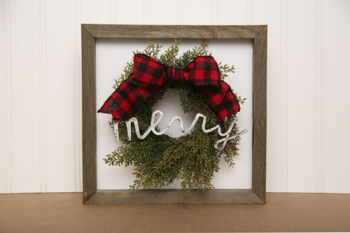 Home decor Mix the Media project using Jillibean Soup's 10 x 10 rustic white frame.  How to use mix the media in home decor projects.  Jillibean Soup Mix the Media home decor projects.  #jillibeansoup #mixthemedia #homedecor #projects #rusticframe #wreath