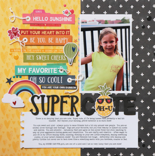 Scrapbook layout using Jillibean Soup's Rainbouw Roux collection, including patterned paper, pea pod parts, coordinating label stickers, foam stickers, epoxy stickers, and washi sheets.  How to create a scrapbook layout with the Rainbow Roux collection.  Jillibean Soup scrapbooker.  #jillibeansoup #scrapbooker #layout #rainbowroux