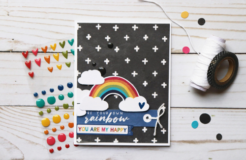 Card using Jillibean Soup's Rainbow Roux collection including patterned paper, pea pod parts, coordinating label stickers, epoxy stickers.  How to create a card with the Rainbow Roux collection. Jillibean Soup cardmaking.  #jillibeansoup #cardmaking #rainbowroux