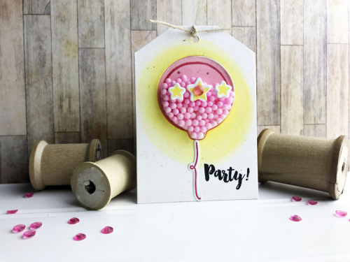 Shaker tag using Jillibean Soup's balloon shaker tag and insert, balloon party stamp and die set, and shaker fillers.  How to make a shaker tag.  Jillibean Soup cardmaking.  #jillibeansoup #cardmaking #shakertag #balloon #balloonstampanddieset