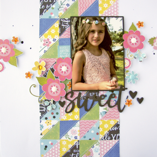 Scrapbook layout using Jillibeans Soup You Make Miso Happy patterned paper and Garden Harvest foam stickers.  How to make a scrapbook layout with You Make Miso Happy.  Jillibean Soup scrapbooker.  #jillibeansoup #scrapbooker #layout #youmakemisohappy #gardenharvest