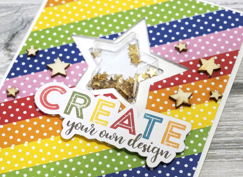 Shape shaker card using Jillibean Soup's star shaker card and insert, shaker fillers, and All About Dots paper pad.  How to make a shaker card.  Jillibean Soup cardmaking.  #jillibeansoup #cardmaking #shapeshaker #allaboutdotspaperpad #star