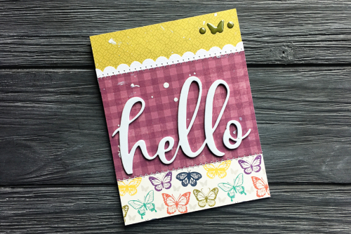 Card created using Jillibean Soup's Garden Harvest patterned paper, Garden Harvest epoxy stickers collection and You Make Miso Happy foam stickers.  Jillibean Soup cardmaking.  #jillibeansoup #cardmaking #gardenharvest #youmakemisohappy #foamstickers
