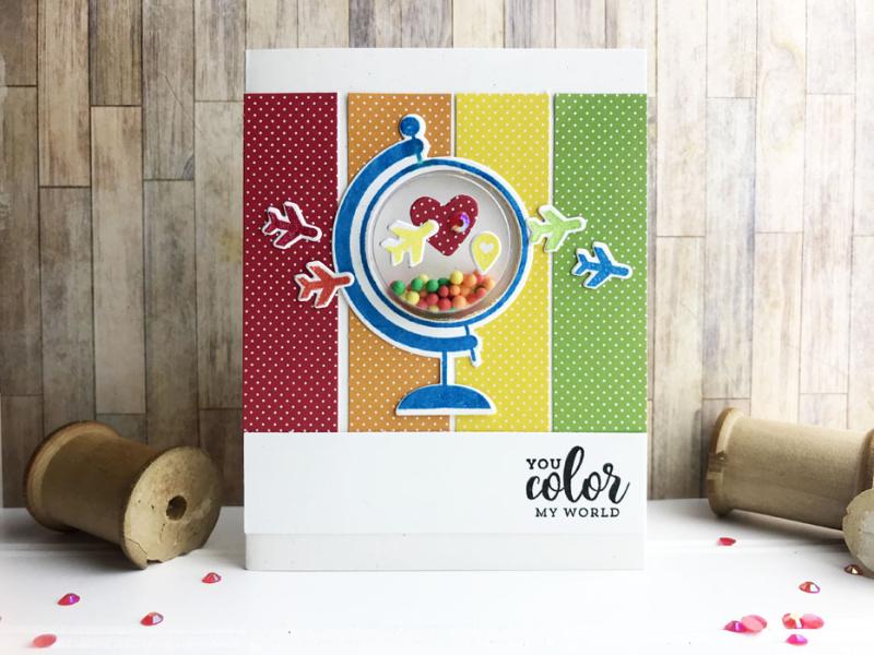 Teri Rainbow Globe Shaker Card Photo 1