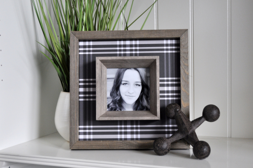 Rustic White Frame with Pattern Paper by Jen Gallacher for Jillibean Soup