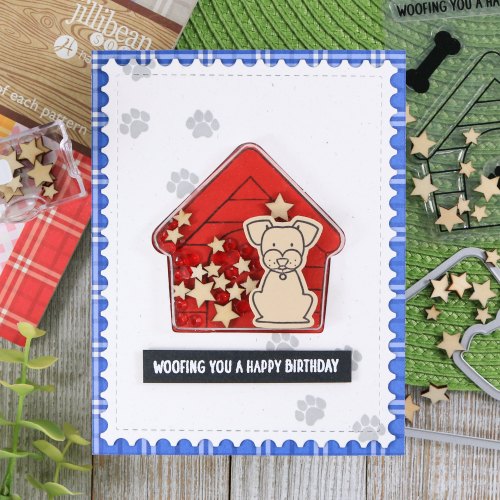 Shape shaker card using Jillibean Soup's Pawsome Stamp and Die Set, Gingerbread House shaker card and insert, sequins warm mix, and wood veneer fillers.  How to make a shape shaker card.  Jillibean Soup cardmaking.  #jillibeansoup #cardmaking #shapeshaker #pawsome #stampanddieset #gingerbreadhouse