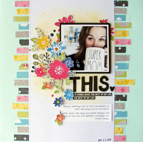 Scrapbook layout using Jillibean Soup's Rainbow Roux collection including patterned paper, coordinating stickers, epoxy stickers and foam stickers.  National Scrapbooking Day.  Jillibean Soup scrapbooker.  #jillibeansoup #scrapbooker #scrapbooklayout #rainbowroux #nationalscrapbookingday