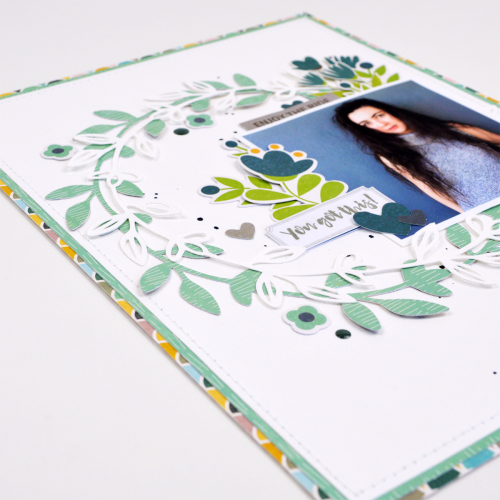 Scrapbook layout using Jillibean Soup's Spoonful of Soul collection, including patterned paper, pea pod parts, epoxy stickers, clear stamps, and Happy Hues.  National Scrapbooking Day.  Jillibean Soup scrapbooker.  #jillibeansoup #scrapbooker #scrapbooklayout #spoonfulofsoul #nationalscrapbookingday
