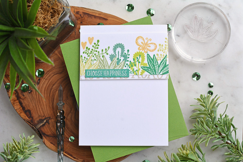 Card created using Jillibean Soup's You Make Miso Happy stamps and pea pod parts.  How to stamp on a card.  Jillibean Soup cardmaking.  #jillibeansoup #cardmaking #stamping #youmakemisohappy #stamps #peapodparts